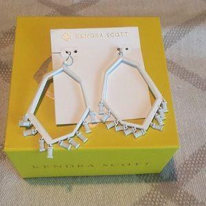 White chandelier statement earrings